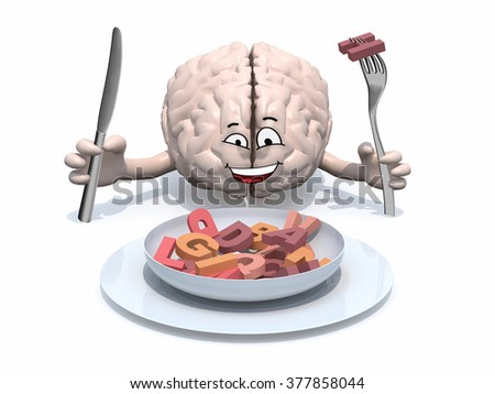 human brain with arms, fork and knife in hand in front of plate with many 3d letters - stock photo