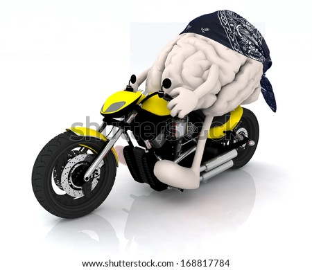 human brain with arms, legs and bandana on the motorbike, 3d illustration - stock photo
