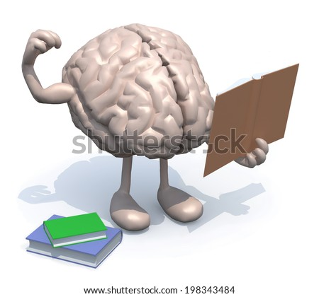 human brain with arms, legs and many books on hand, culture power concept. - stock photo