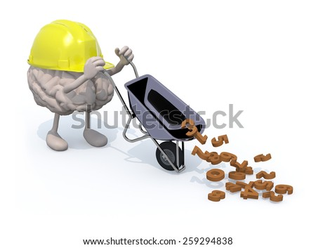 human brain with arms, legs and workhelmet carries a wheelbarrow with numbers, 3d illustration - stock photo