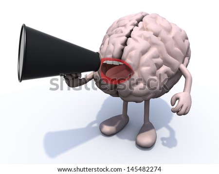 human brain with arms, legs, mouth that shout into loudhailer, 3d illustration - stock photo