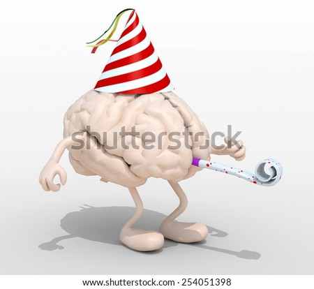 human brain with arms, legs, party cap and blowers, 3d illustration - stock photo