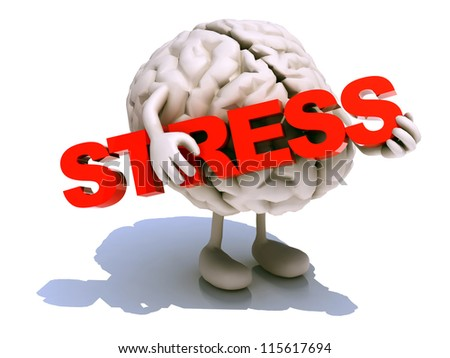 "human brain with arts that embraces a word ""stress"", 3d illustration - stock photo"