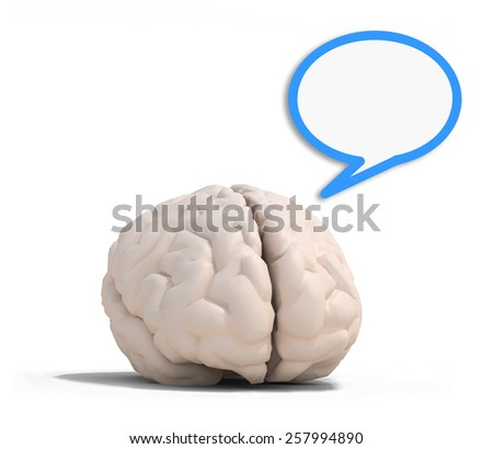 human brain with blue speech ballon, isolated on white 3d illustration - stock photo