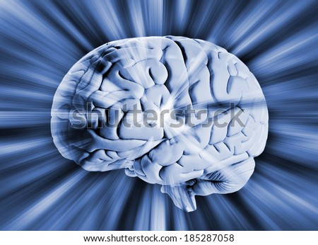 Human brain with streaks of energy  - stock photo
