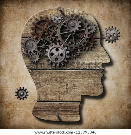 Human brain work metaphor made of rusty metal gears - stock photo