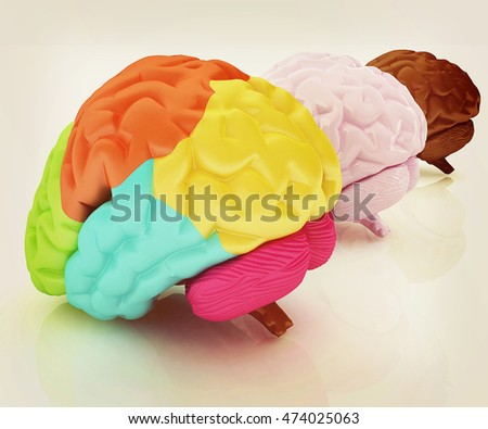 Human brains. 3D illustration. Vintage style.