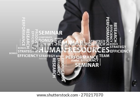 Human. Business Hand Touch Human Resources Chart - stock photo