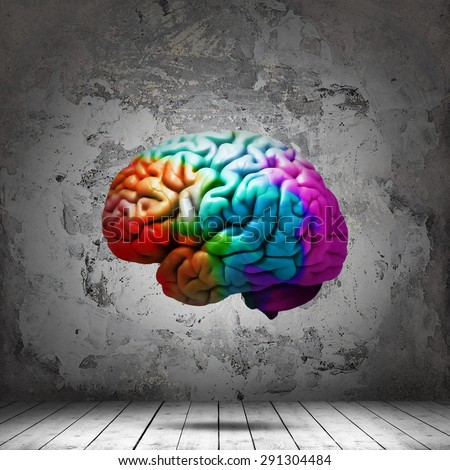 human colored brain,interior room  with copyspace for text and wall background - stock photo