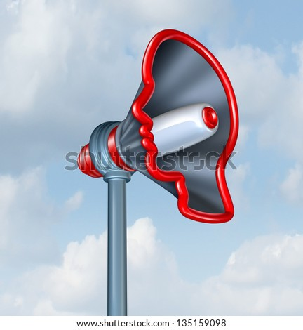 Human Communication and voicing an opinion with a megaphone or bullhorn in the shape of a human head as a concept of sending an important marketing message to connect to costumers. - stock photo