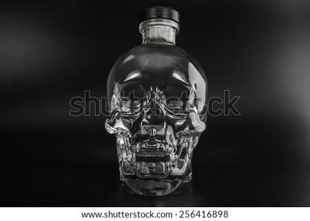 human crystal head skull bottle of vodka - stock photo