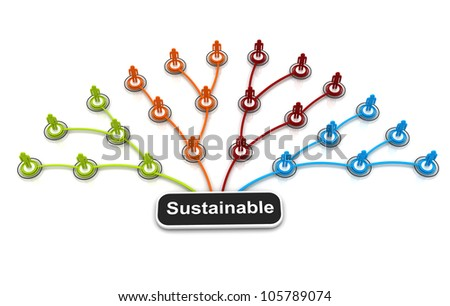 Human 3D model Connection Link Organization chart isolated - stock photo