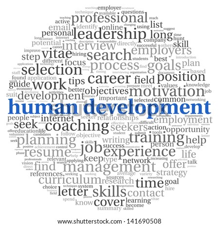 Human development concept in tag cloud on white background - stock photo