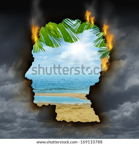 Human escape emotions concept with a dark storm sky burning a hole shaped as a head revealing a beautiful tropical landscape as a metaphor for brain relaxation to fight depression stress and anxiety. - stock photo