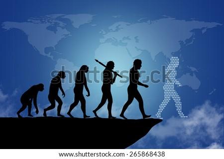 Human evolution into the present digital world.  - stock photo