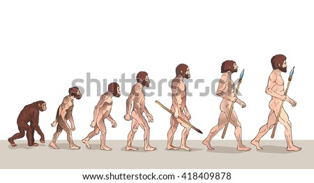 Human Evolution Vector Illustration. Man Evolution Historical Vector. Progress Growth Development. Monkey, Neanderthal, Homo Sapiens, Primate With Weapon. Historical Illustrations Raster Version.