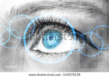 Human eye and technology communication concept  - stock photo