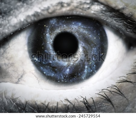 Human eye looking in Universe. Elements of this image furnished by NASA. - stock photo