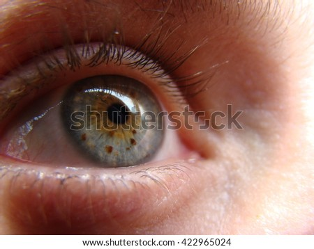 human eye looking into the distance in front of him