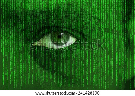 Human eye looking through raining computer code - concept for hacking and computer piracy - stock photo