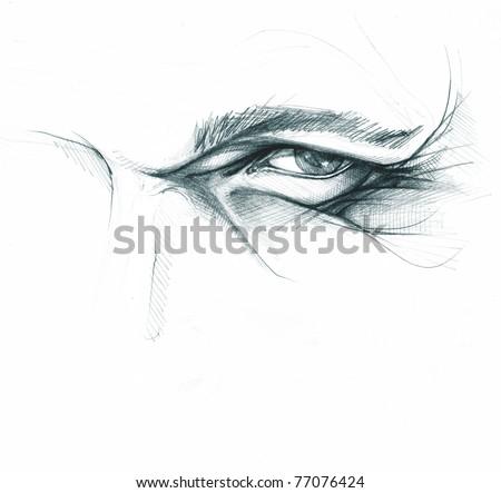 human eye, pencil freehand sketch, artistic anatomical study - stock photo