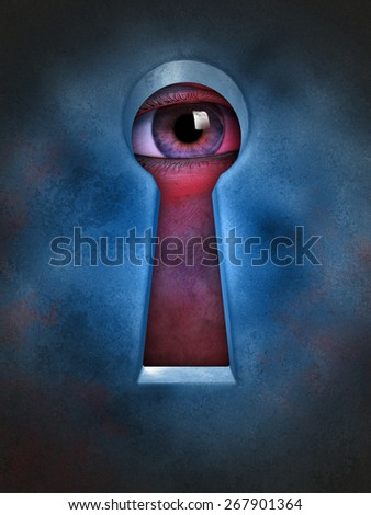 Human eye spying through a keyhole. Digital illustration. - stock photo