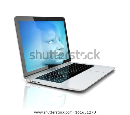 human face exiting the computer screen - stock photo