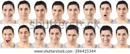 Human Face, Facial Expression, Men. - stock photo