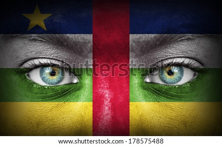 Human face painted with flag of Central African Republic