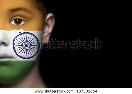 Human face painted with flag of India - stock photo