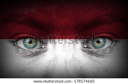Human face painted with flag of Indonesia - stock photo