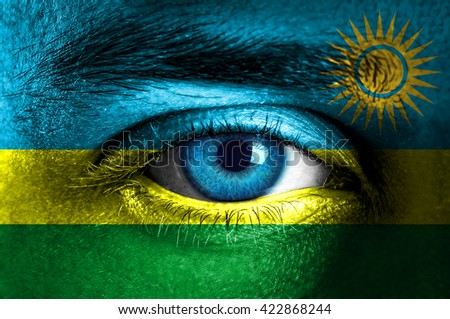 Human face painted with flag of Rwanda