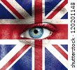 Human face painted with flag of United Kingdom - stock photo