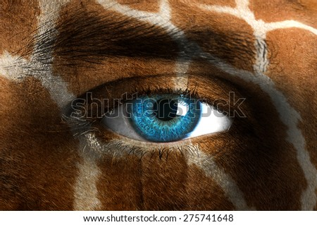 Human face with animal patterns - Giraffe