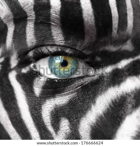 Human face with Zebra pattern - Save endangered species concept  - stock photo