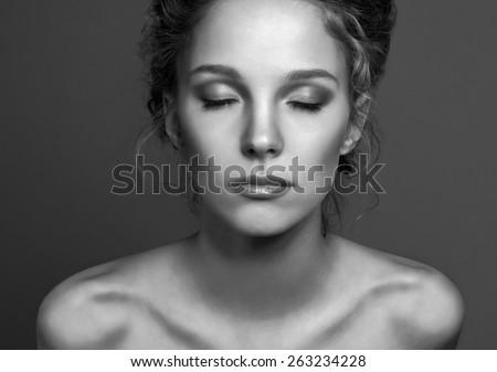 Human Face, Women, Dark. - stock photo