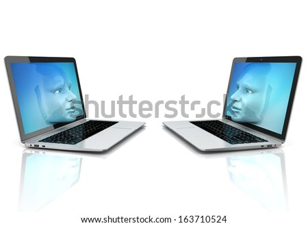 human faces exiting the computer screens - stock photo