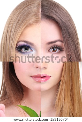 Human female face made of several different people,artistic concept - stock photo