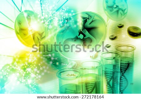 Human fetus in scientific background - stock photo