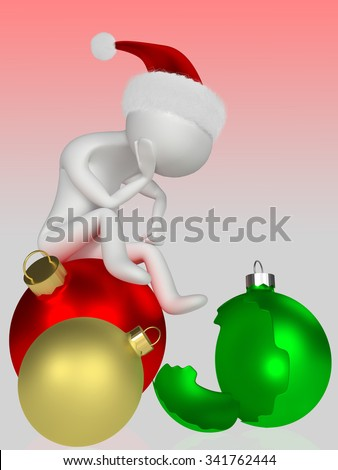 Human figure sitting on Christmas ball