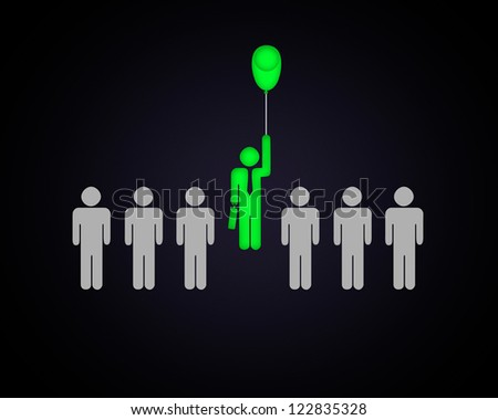 Human figure with a balloon in a row of others