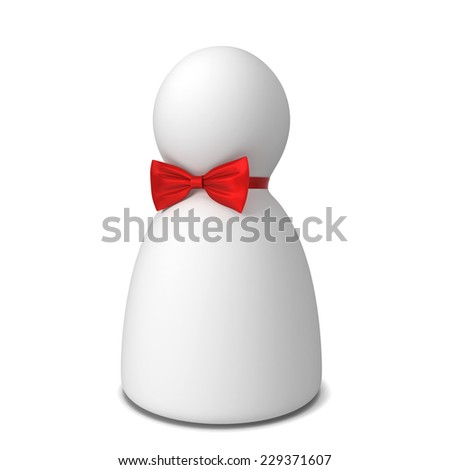 Human figure with bow tie. 3d illustration isolated on white background