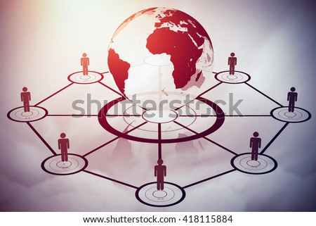 Human figures surrounding earth graphic against blue sky - stock photo
