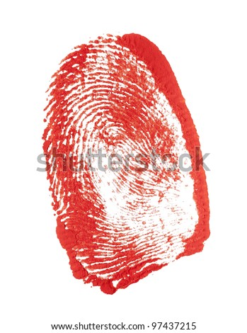 Human finger bloody red imprint. Design element on white - stock photo