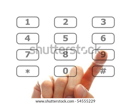 human finger dial a telephone number, isolated on white background