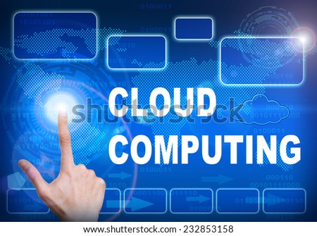Human finger pressing high tech glowing modern cloud computing interface touch screen button on abstract blue technology digital background - stock photo