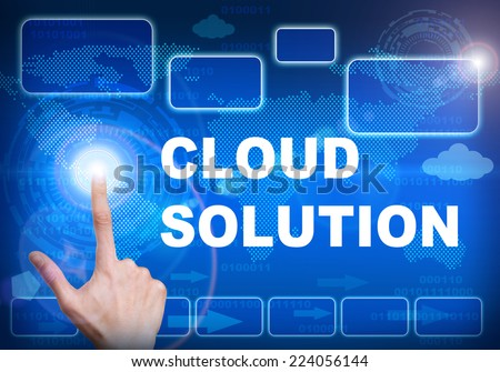 Human finger pressing high tech glowing modern cloud solution interface touch screen button on abstract blue technology digital background - stock photo