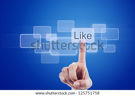 Human finger pressing like button on blue digital touch screen - stock photo