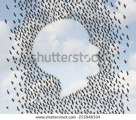 Human freedom and emigration concept as a group of flying geese as an organized flock of birds in the shape of a head or face profile as a symol for liberty and independence or vacation travel. - stock photo