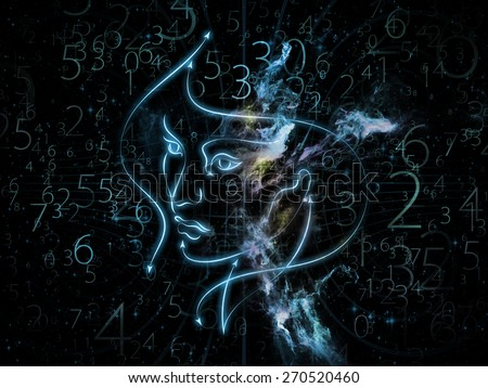 Human Geometry series. Artistic background made of lines of human face, fractal elements and symbols for use with projects on science, philosophy, metaphysics and modern technology